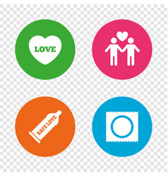 condom safe sex icons lovers gay couple sign vector image