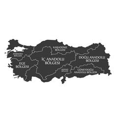 Turkey map labelled black in turkish language vector