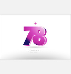 Number 78 black white pink logo icon design vector