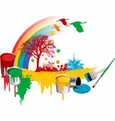 Paint rainbow design vector