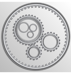 Metallic chrome gear wheels vector