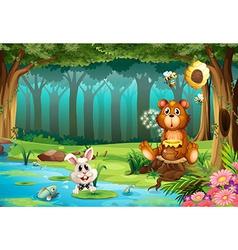 Bear in jungle vector image