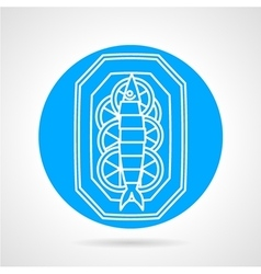 Prepared fish blue round icon vector