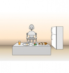 Comic robot on the kitchen vector