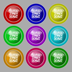 Qr code icon sign symbol on nine round colourful vector