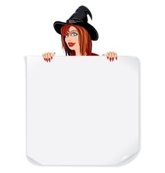 Beauty witch with paper scroll vector