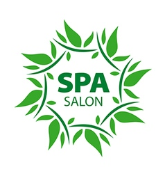 Plant round logo for spa salon vector
