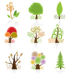 Tree collection icon vector