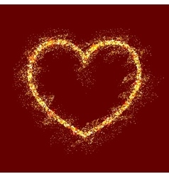 Gold shiny heart on red background vector