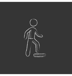 Man doing step exercise drawn in chalk icon vector