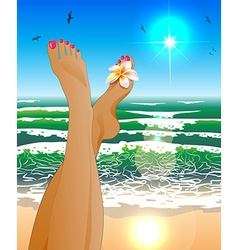 A womans legs relaxing at the beach vector