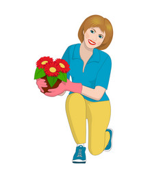 A girl holding a pot of flowers vector