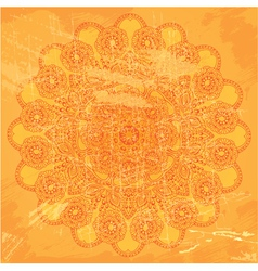 Abstract circle lace pattern on orange grunge back vector image vector image