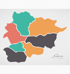 Andorra map with states and modern round shapes vector