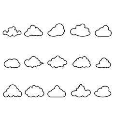 black cloud outline icons set vector image
