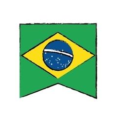 Brasilian flag hanging symbol draw vector