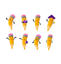 Cartoon clever pencil character set vector