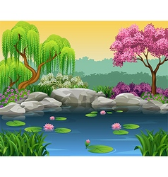 Cartoon of beautiful river background vector image vector image