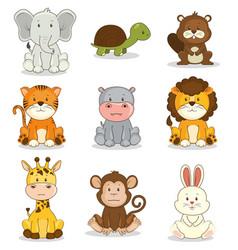 Cute adorable animal icon set vector