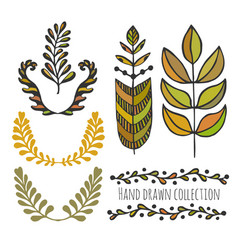 ethnic collection with stylized colorful leaves vector image