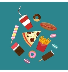 Flat style junk food icons vector image vector image