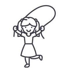 girl with jumping rope line icon sign vector image