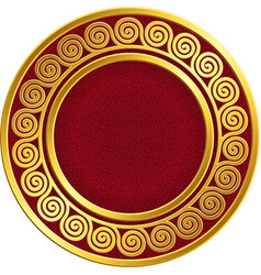 Golden round frame with greek meander pattern vector