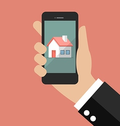 Hand holding smart phone with house icon vector image