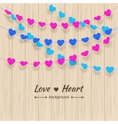 Heart background Textured bunting and colorful vector image