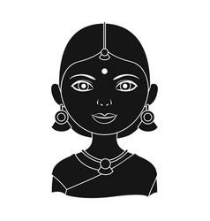 hindu womanhuman race single icon in black style vector image