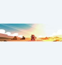 Horizontal banner with big semi truck trailer vector