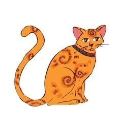 Image of orange cat isolated on white background vector image