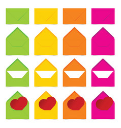 Letter envelope in colorful set with heart vector