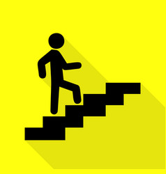 Man on stairs going up black icon with flat style vector