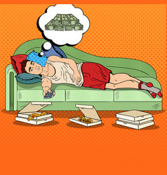 pop art lazy man lying on sofa watching tv vector image vector image