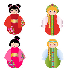 Russian dolls and the chinese doll together on whi vector