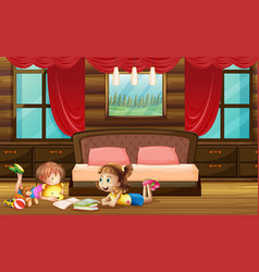 scene with two girls in bedroom vector image vector image