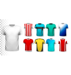 Set of colorful soccer jerseys the t-shirt is vector