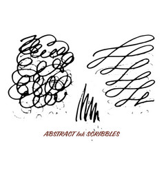 Set of hand drawn ink pen swirly scribbles vector