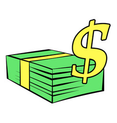 stack of dollars icon icon cartoon vector image vector image