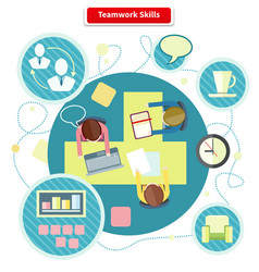 Teamwork Skills Concept Flat Design vector image
