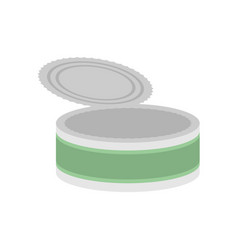Tin empty open isolated can blank on white vector