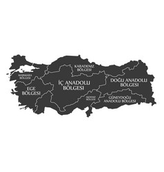 Turkey map labelled black in turkish language vector