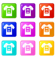 white shirt with print of man portrait icons 9 set vector image vector image