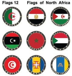 World flags North Africa vector image