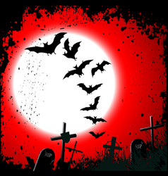 Halloween background - destroyed cemetery in full vector image