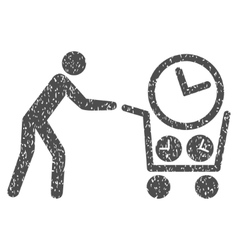 Clock shopping grainy texture icon vector