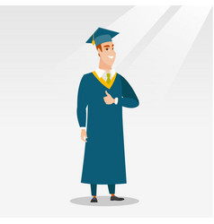 Graduate giving thumb up vector