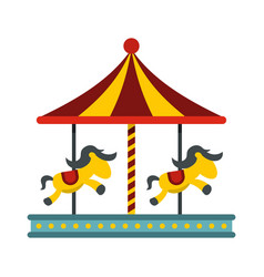 Children carousel with colorful horses icon vector
