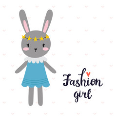 Fashion girl cute little bunny romantic card vector